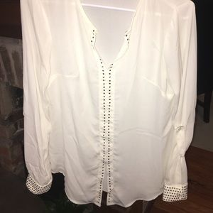 ECI Cream blouse with gold studded cuffs